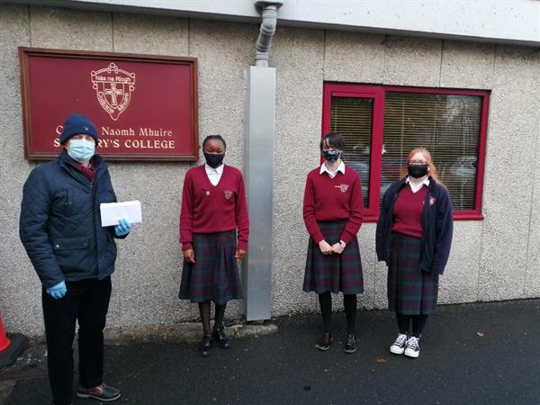 Presentation by Student Council to Naas branch of St Vincent De Paul
