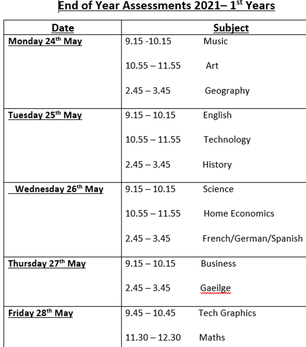 First Year End of Year Assessments Timetable