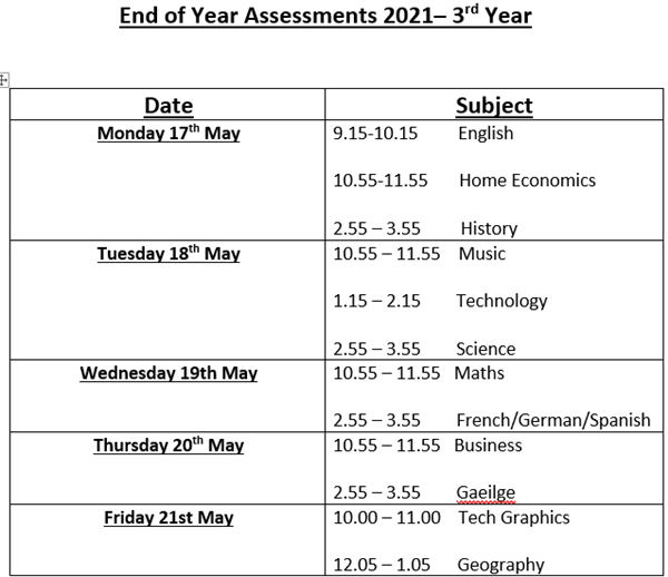 Third Year End of Year Assessment Timetable