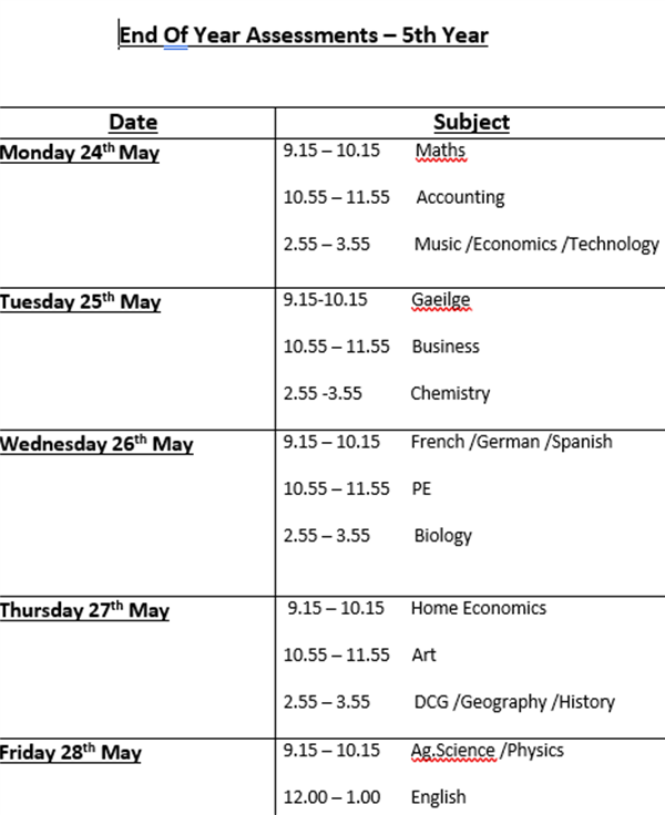 Fifth  Year End of Year Assessments Timetable